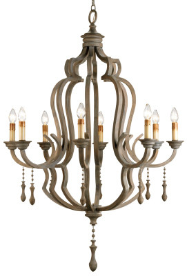 Currey & Co Waterloo Chandelier Dimensions: 41rd x 59h Number of lights: 8 This magnificent eight light chandelier is spectacular on all counts: Size, materials and finish. The framework is constructed of wrought iron with applied bent wood that has been stained and then grey washed to give it the appearance of age. The classic traditional form has simple accents of gracefully turned wooden pendants.