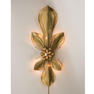 """Brass Fleur De Lis Wall Sconce 17"""" Wide 42.5"""" High Impresssive statement for a focal wall"""