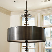 "Global Views Turned Pendant Chandelier--Antique Bronze Finish--Small Dimensions: 30""DIA x 50""H *Oversized Item, White Glove Delivery, Crated Holds six 60W candelabra bulbs 46"" bronze chain, Clear silver cord Round drum bronze finished steel shade Bronze finish canopy"