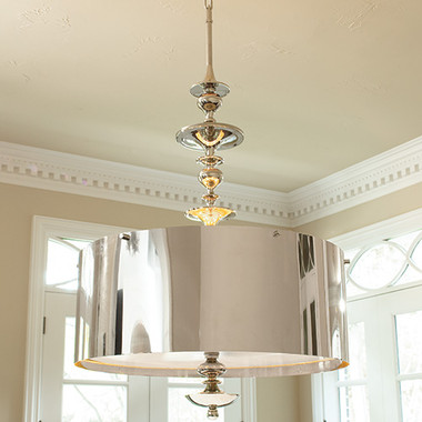 """Global Views Turned Pendant Chandelier--Nickel--Large Dimensions: 39.25""""DIA x 56""""H *Oversized Item, White Glove Delivery, Crated Holds six 60W candelabra bulbs 46"""" nickel chain, Clear silver cord Round drum nickel finished steel shade Nickel finish canopy"""