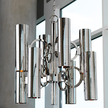 """Global Views O-Pipe Chandelier Dimensions: 29.5""""DIA x 27.5""""H *Oversized Item, White Glove Delivery, Crated Holds sixteen 25W candelabra bulbs 50"""" of chain included Nickel canopy"""