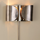 "Global Views Folded Sconce--Antique Silver/Nickel Dimensions: 15""W x 8.5""H x 4""D Holds two 60W candelabra bulbs 36"" nickel cord cover, 8' clear silver cord, Switch on cord Hangs on two keyholes"