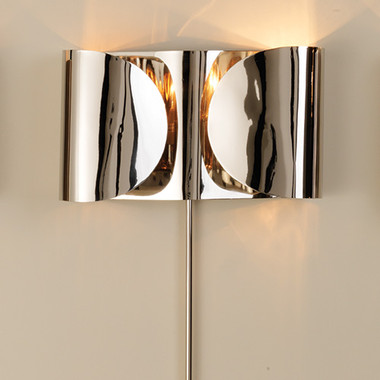 """Global Views Folded Sconce--Nickel Dimensions: 15""""W x 8.5""""H x 4""""D Holds two 60W candelabra bulbs 36"""" nickel cord cover, 8' clear silver cord, Switch on cord Hangs on two keyholes"""