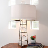 "Global Views Fortune Teller Table Lamp--Large Dimensions: 22"" diameter x 39""height Holds two 60W ""A"" lamp bulbs 8' clear silver cord; the switch is on the cord Hardback shade covered in ivory silk Polished stainless steel finish w/ four loose crystal balls"