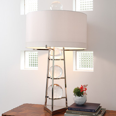 """Global Views Fortune Teller Table Lamp--Large Dimensions: 22"""" diameter x 39""""height Holds two 60W """"A"""" lamp bulbs 8' clear silver cord; the switch is on the cord Hardback shade covered in ivory silk Polished stainless steel finish w/ four loose crystal balls"""