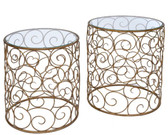 Old World Design Golden Swirl Accent Tables s/2