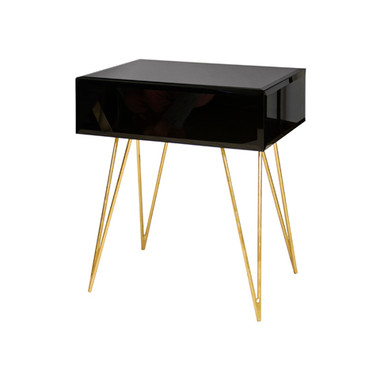 Black glass Debra nightstand with gold hairpin legs by Worlds Away.
