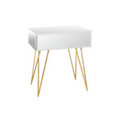 Mirrored nightstand with gold hairpin legs by Worlds Away.