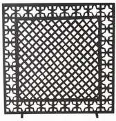 Our fascination with the charm of antique furnace grates led us to design an iron fire screen that joins two classic motifs together in one geometrically chic fire screen.