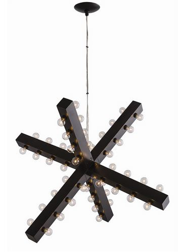 This graphic six arm 48 light chandelier is suspended by a wire filament, making it appear to float. The finish is bronze.