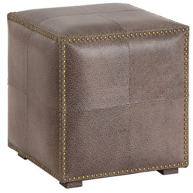 Brown shagreen embossed leather panels and antiqued brass nailhead trim give the Grayton ottoman an updated classic feel