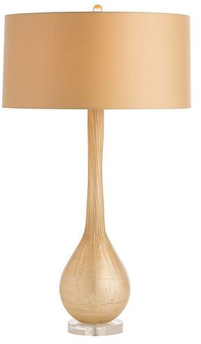 Iridescent gold hues shimmer beneath the frosted surface of this blown glass lamp.