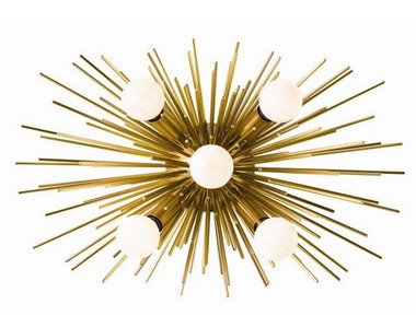 An adaptation of one of our most popular chandeliers, this antique brass sconce has five lights and can be hung horizontally or vertically.