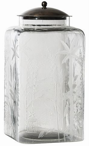 These were inspired by simple kitchen canisters; however, the elaborate hand etching elevates them to elegance and crosses the boundary of East and West.