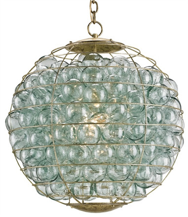 Currey and Company Pastiche Orb Chandelier with clear glass balls