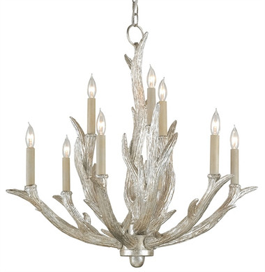 Currey and Company Haywood Silver Antler Chandelier.