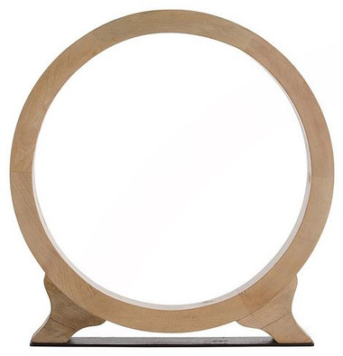 Striking ring sculpture made from waxed wood with natural finish on an iron base. Available in Small and large sizes.