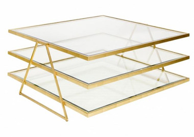 Three tier gold leaf cocktail table with beveled glass shelves by Worlds Away.