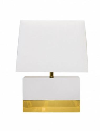 White rectangular Foley lamp by Worlds Away.