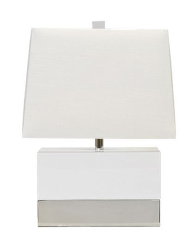 worlds away foley lamp in white lacquer with nickel base