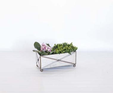 "Antique Mirrored Rectangular Crosshatched Planter. 12"" wide x 5"" deep x  5""Tall"