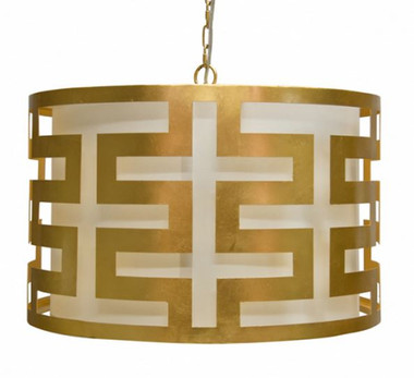 GOLD LEAFED GREEK KEY PENDANT WITH INTERIOR SHADE BY WORLDS AWAY.