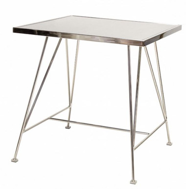 SILVER COLORED, NICKEL PLATED ANTIQUE MIRROR SIDE TABLE BY WORLDS AWAY.