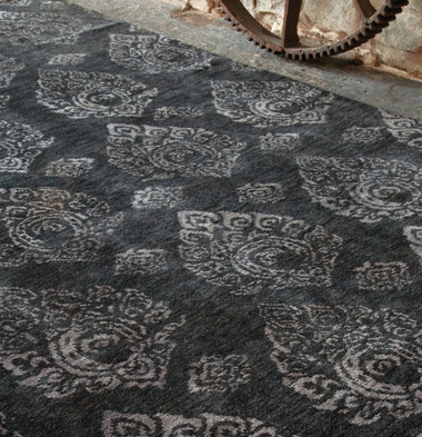 Ikat design hand knotted  wool rug in hard to find dark charcoal 6' x 9' other sizes available