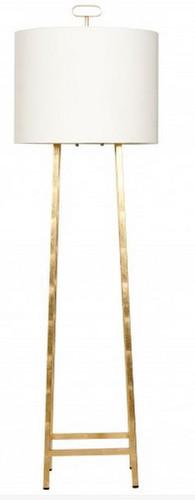 Ferris G Gold leaf floor lamp by Worlds Away sleek simple modern white shade four leg lamp