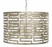 Nova silver leafed pendant chandelier with small Greek key pattern by Worlds Away