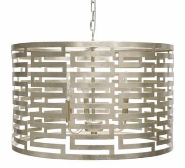 Nova silver leafed pendant chandelier with small Greek key pattern by Worlds Away