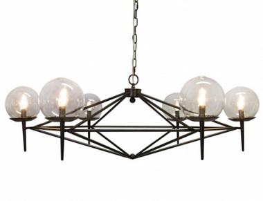 Black powder covered metal iron chandelier. Rowan light fixture by Worlds Away. Includes chain and canopy for ceiling suspension. Glass hand blown globe lights.