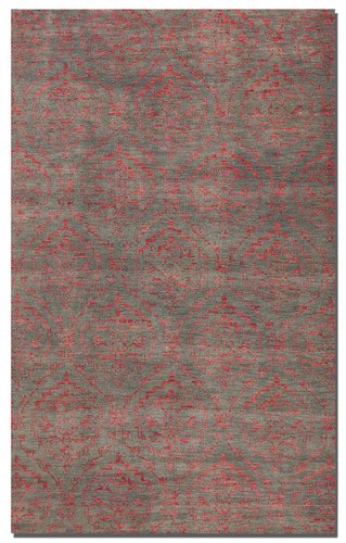 Hand knotted wool in a weathered gray accented with shades of rose.
