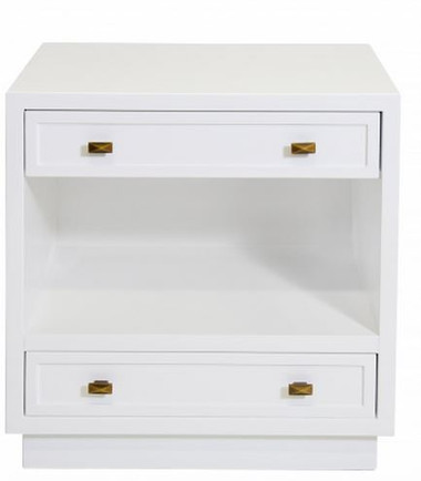 Warren nightstand by Worlds Away sleek modern minimal white lacquer night table night stand with brass colored metal pulls drawer handles two drawers and an open shelf with a recessed bottom.