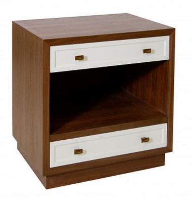 Warren nightstand by Worlds Away sleek modern minimal wood veneer and white lacquer night table night stand with brass colored metal pulls drawer handles two drawers and an open shelf with a recessed bottom.
