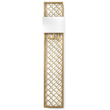 Tall and dramatic Quatrefoil Panel Sconce in Gold Leaf by Regina Andrew