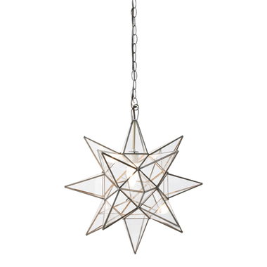 Extra Large Clear Star Chandelier. Uses 1 - 60 watt bulb. Comes with 3' antique brass chain and canopy. COLOR: Clear