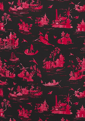 Alessandra Branca Fabric Coromandel in Rouge / Noir