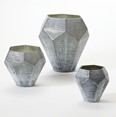 Faceted Stria Vase-Grey