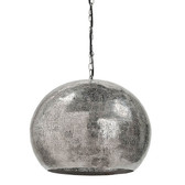 Pierced Metal Sphere Pendant (Polished Nickel) Height: 17.75 Width: 18 Depth: 18 Wattage: 40 Watt Max Bulb Qty: 5 Socket: E12 Candelabra Wiring Type: Hard Wire Material: Steel