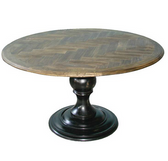Pedestal Table with Herringbone Top