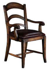 PASTORAL LEATHER ARM CHAIR - WALNUT
