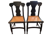 Empire Side Chairs w/ Caned Seats, Pair