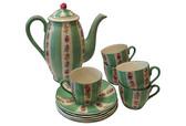 Striped Green Tea Set, Svc. for 5