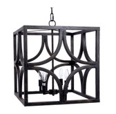 Square diamond black and gold accent metal lantern