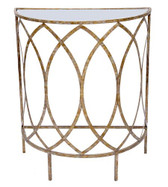 Claire champagne gold finish foyer table with mirrored top