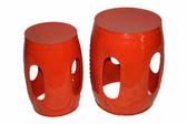 S/2 Orange iron stools
