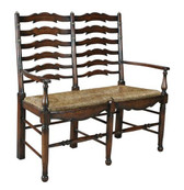 Accessoriesabroad Ladder Back Settee - Dark Oak