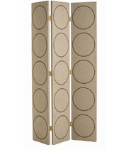 This linen covered three panel screen is highlighted by a repetition of circular brass nail head trim and brass hinged hardware.