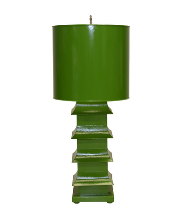 Deep green asian style tole painted lamp from worlds away